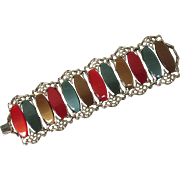 Vintage Bold Bracelet of Thermoset Plastic Coral Gold Green Links in Gold Plated Metal