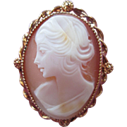 Lovely Genuine Carved Cameo Brooch 1/20 12KT GF in original Box Beautiful Profile Pin