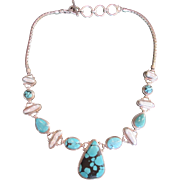 Gorgeous Turquoise, Pearl, Sterling Silver Necklace ~ Quality w Wonderful Design