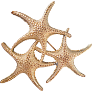 Fun Starfish Trio Vintage Brooch Pin Ocean Theme Sea Creature