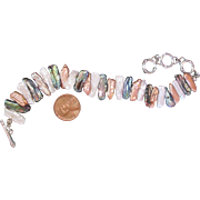 Freshwater Pearl Bracelet Multi Colors w Sterling Silver Closure MOP Black Mocha