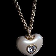 Joan Rivers Puffy Heart Pendant Necklace Vintage Designer Signed