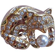 Charming Fox Brooch by Napier with Rhinestones and Pearl Ball