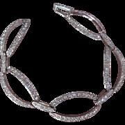Vintage Monet Rhinestone Bracelet Large Oval Shape Linked
