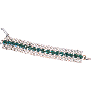 Fabulous Large Rhinestone Bracelet Faux Emeralds & Diamonds Prong Set Quality Piece