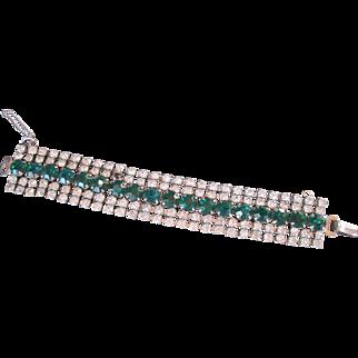 Fabulous Large Rhinestone Bracelet Faux Emeralds & Diamonds Prong Set Quality Piece
