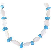 Vintage Genuine Turquoise and Mother of Pearl Bead Necklace w Silver Spacers