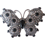 Vintage Butterfly Brooch Silvertone Pin with Black Glass