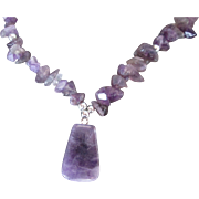 Genuine Amethyst Nuggets w Pendant Necklace Silver Accents & Toggle