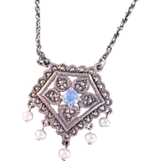 Sterling Silver Necklace Pendant of Marcasites & Pearls Opalescent Center Crystal