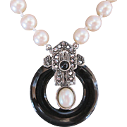 Gorgeous Richelieu Vintage Pearl Necklace with Onxy Black Circle w Marcasites Buckle Tab