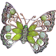 Beautiful Butterfly Brooch Green Moonstones Rhinestones Gold Tone Signed LC Liz Claiborne