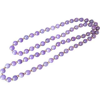 Amethyst Bead Necklace Natural Stone with Gold Bead Spacers