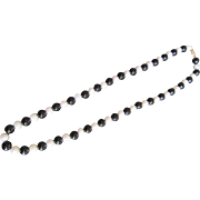 "14K Gold Clasp on Fine Pearls w Opaque Black Onyx Necklace 24"" Strand from Estate"