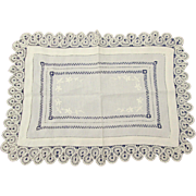 Lovely Antique Irish Linen Tray Cloth all Hand Worked Crochet, Drawn & Embroidery