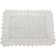 Irish Linen Cloth w Shamrock Embroidery Crochet Edge from Ireland
