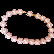 """Feminine Pink Pearl Bracelet Hand Tied Size 7-1/2"""" Lovely Luster"""