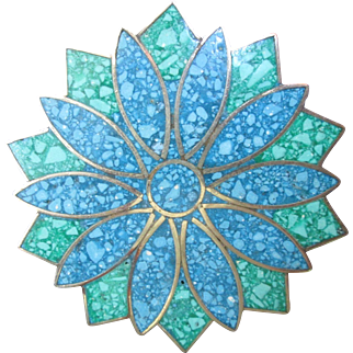 Beautiful Crushed Turquoise Alpaca Silver Inlaid Star Burst Brooch Pendant Pin