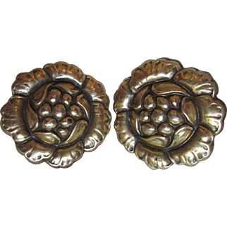 "Vintage CORO Clip Earrings Floral Flower Gold Plated Bold 1-1/4"" Wide"