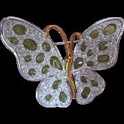 Nolan Miller Butterfly Brooch in Original Box w Green Spots Clear Rhinestones
