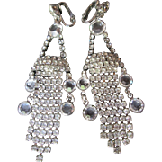 Stunning Crystal Rhinestone Long Dangle Earrings Clip Back Chandelier Style 3-1/2""