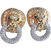 Fabulous KJL Lion Door Knocker Style Earrings Pave Crystal Rhinestone Rings Green Eyes Gold Tone Kenneth Jay Lane