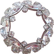 Lovely Faux Diamond Rhinestone Glass Circle Brooch