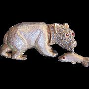 Adorable Vintage Bear w Fish Brooch Gold Finish Rhinestones Dimensional Movable Charmer