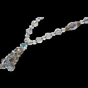 Flirty Flapper Style Crystal Necklace Aurora Borealis and Tassle Vintage Sparkle Galore