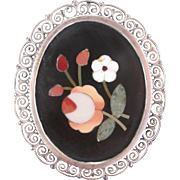 Antique Pietra Dura Flower Brooch 800 Silver w Pendant Loop
