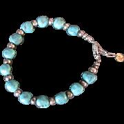 "Sterling Silver Turquoise Howalite Bead Bracelet - designer signed 8"" long"