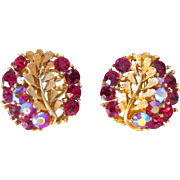 Vintage Designer BSK Clip Earrings Brushed Gold with Ruby Red Glass Stones w Aurora Borealis