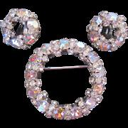 Vintage Circle Pin Brooch w Earrings by Designer Warner Mid Century Modern Aurora Borealis