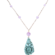 Vintage Czechoslovakia Molded Glass Amethyst Beads w Turquoise Rose Pendant on Gold Filled Chain