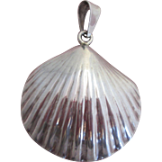 Sterling Silver Scallop Shell Pendant Large Made Mexico