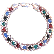 "Sterling Silver Link Bracelet w Semi Precious Beads Wonderful Design of flowing links 7"" Milor Made Italy"