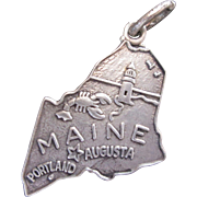 Maine Souvenir Map Sterling Silver Charm by Danecraft w Lobster Lighthouse Seagulls