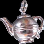 Sterling Silver Vintage 60s Charm for Bracelet of Coffee or Tea Pot Teapot Dimensional