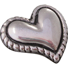 Sterling Silver Abstract Heart Made Mexico Brooch Modernism Mexican Pin