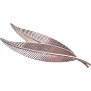 Sterling Silver Modernism Brooch Double Leaf Pin by Jewelart Long & Modern