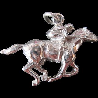 Fabulous Full Horse w Jockey Dimensional Vintage Sterling Silver Charm