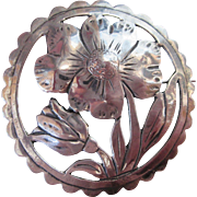 Vintage Bold Modern Circle Brooch of Flowers Sterling