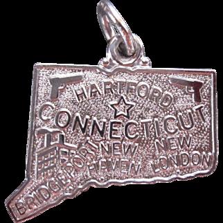 Vintage Sterling Silver Connecticut State Map Charm Souvenir Theme