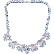 Gorgeous Heavenly Blue and Clear Rhinestone Glass Necklace Vintage 50s