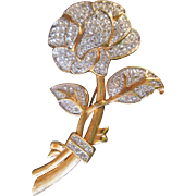 Stunning Rose Brooch signed Nolan Miller Vintage Flower BIG Bold Pin Goldtone Crystal Rhinestones