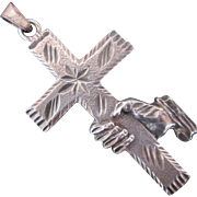 Sterling Silver Cross w Hand Hold Pendant Vintage Christian Theme Rare Design