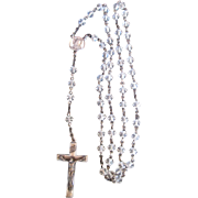 Sterling Silver Cross & Medal w Clear Glass Bead Vintage Rosary Beads Necklace Prayer