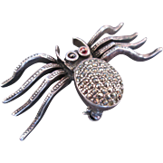 Fabulous Vintage Sterling Silver Bug w Marcasites & Natural Stones Garnets Spider Pin