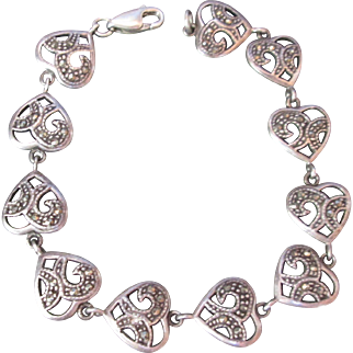 Exquisite Sterling Silver Heart Bracelet Marcasites Signed Vintage Valentine Sweetheart Theme