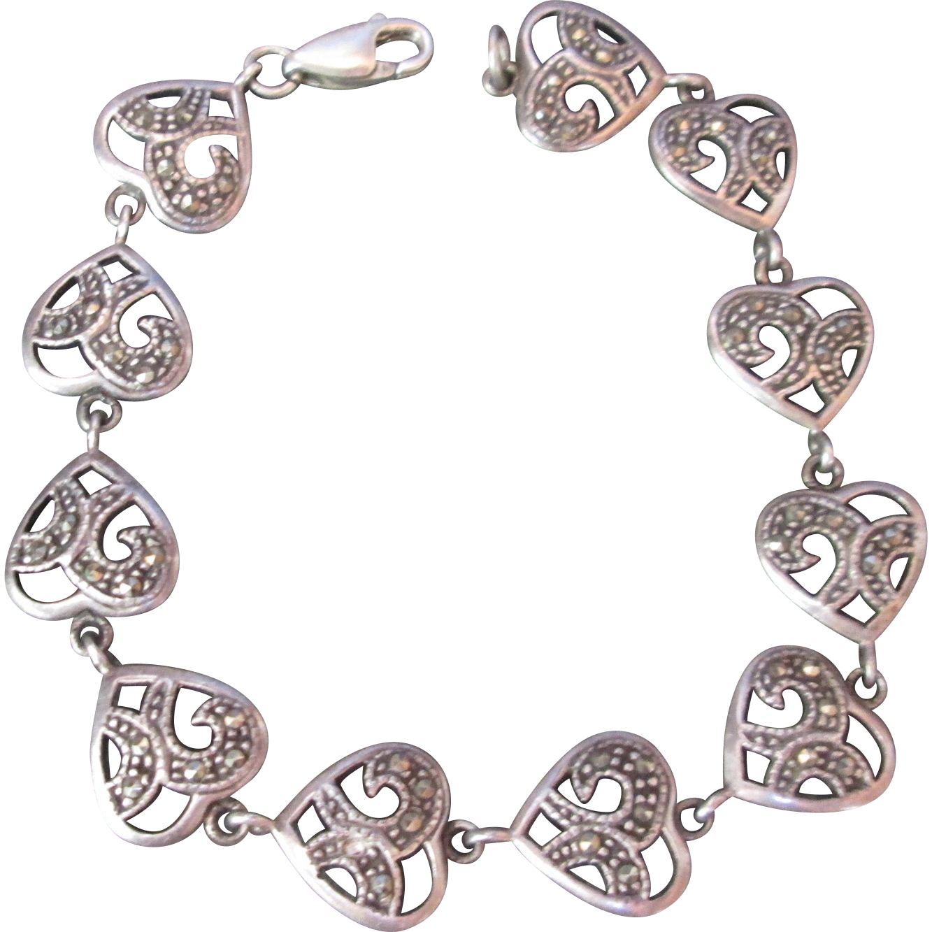 Exquisite Sterling Silver Heart Bracelet Marcasites Signed Vintage Valentine Sweetheart Theme